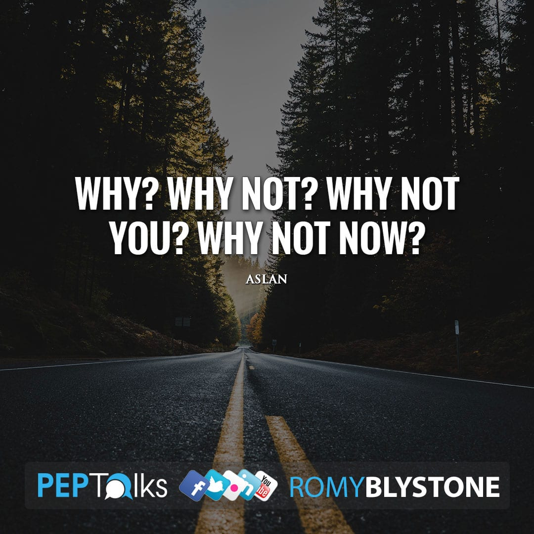 Why? Why not? Why not you? Why not now? by Aslan