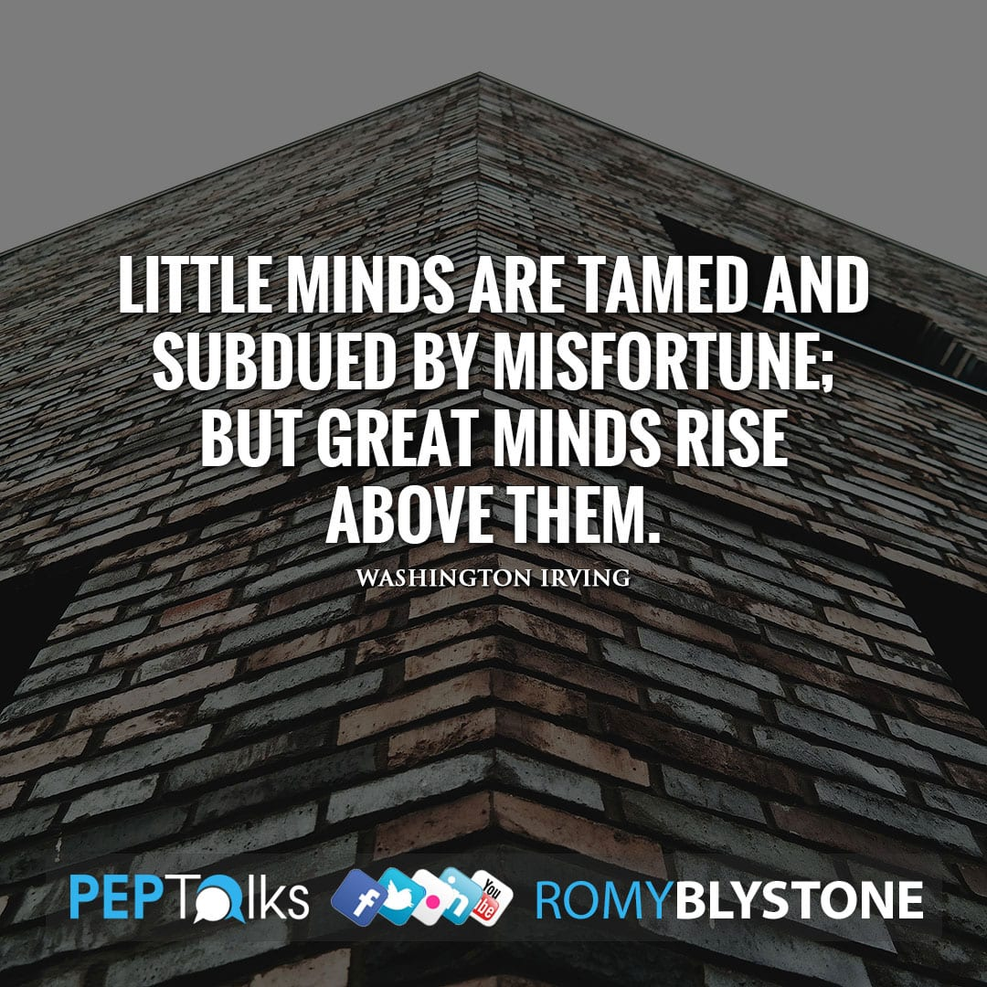 Little minds are tamed and subdued by misfortune; but great minds rise above them. by Washington Irving