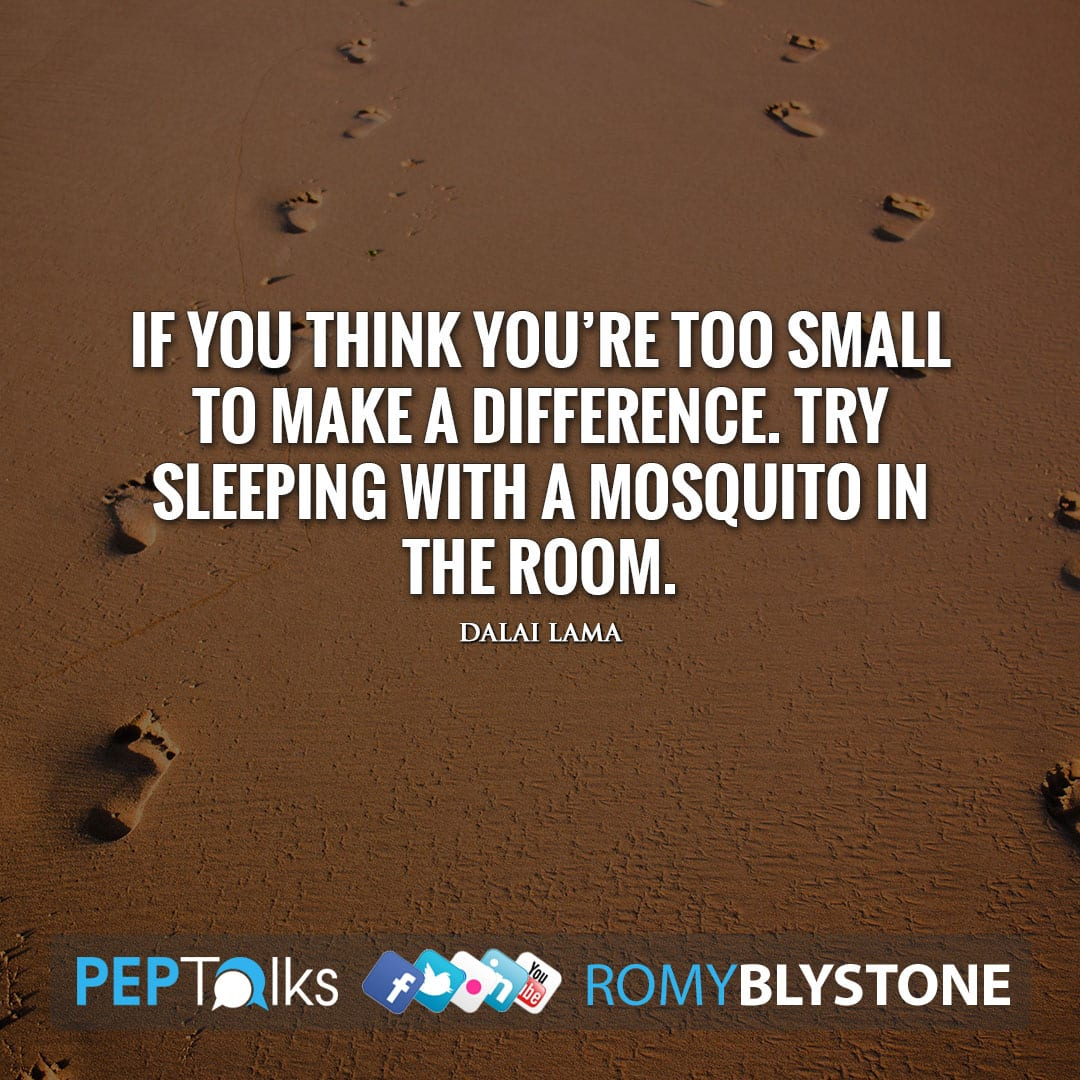 If you think you're too small to make a difference. Try sleeping with a mosquito in the room. by Dalai Lama