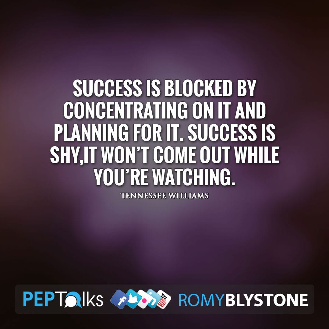 Success is blocked by concentrating on it and planning for it. Success is shy,it won't come out while you're watching. by Tennessee Williams